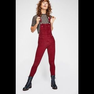 Free people slim ankle cord overalls red 26 NWT